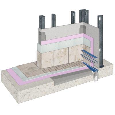 Cemrock Lite - Perete baie (zona dus) pe structura metalica