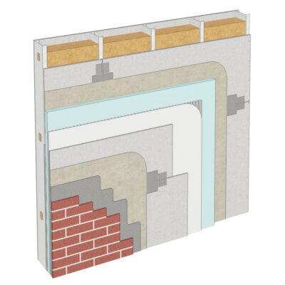 Cemrock Standard - Realizare perete exterior pe structura metalica placat cu caramida aparenta