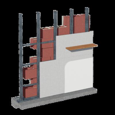 Cemrock Extreme - Placare interioara placi fibrociment perete din caramida - raft in consola